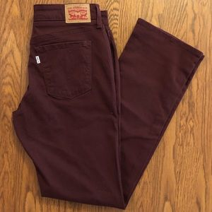 NEW Levi's 505 Straight Leg Burgundy Jeans Size 28